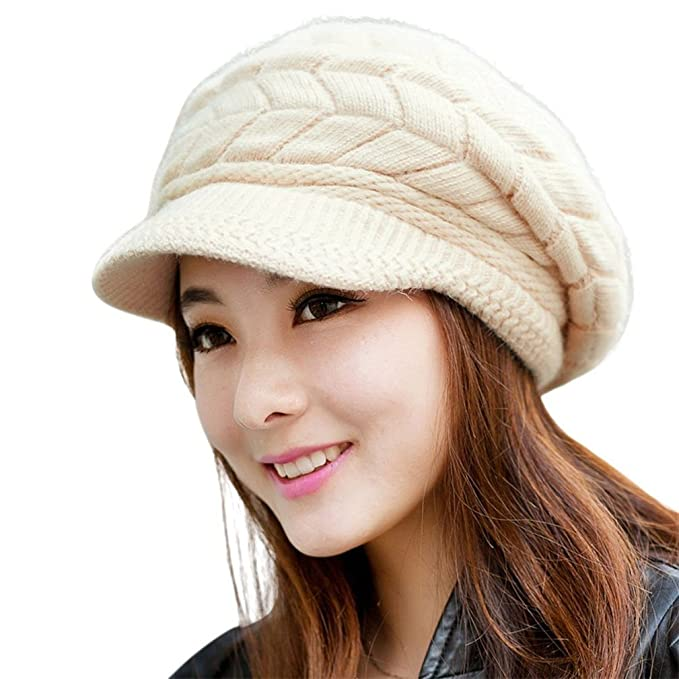 Kfnire Cappelli Invernali per Le Ragazze delle Donne Calde Calza Cappello  di Sci di Neve di 89e3090ca845