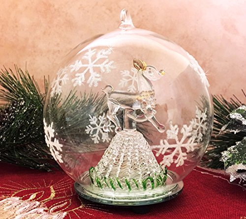 Glitter Snowflake Christmas Ornaments (LED Glass Globe Christmas Ornament Reindeer Hand Painted Glitter Snowflakes Color Changing)