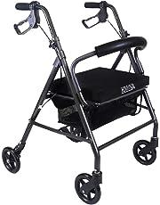 KMINA - Andador KMINA COMFORT 4 Ruedas, Andadores Ancianos, Andador 4 ruedas, Andador con asiento para adultos, Andador para mayores de aluminio, Andador para ancianos plegable con 4 ruedas