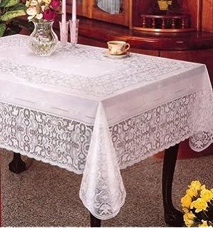 100% Embossed Vinyl PVC Lace Rectangular Table Cloth Cover (135cm X 180cm)