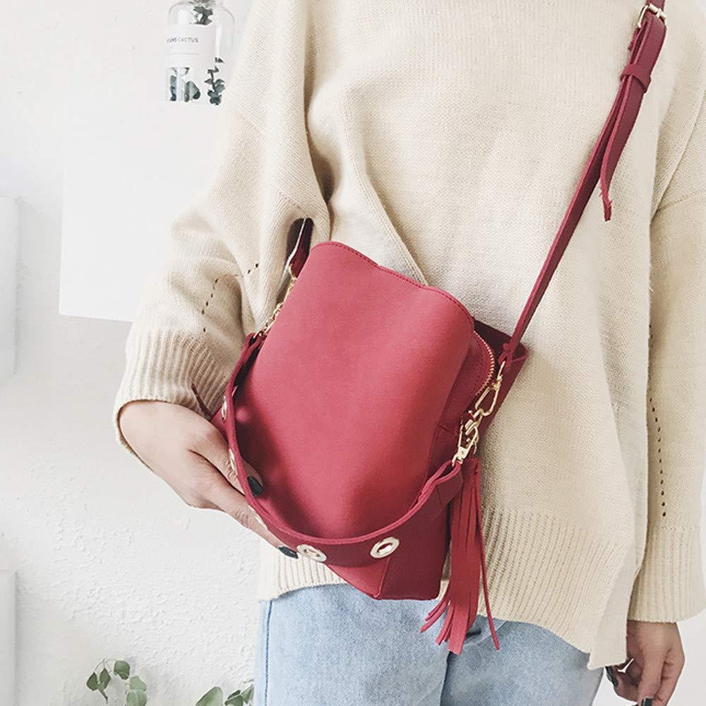 Women Vintage Bag Tassel Messenger Retro Shoulder Simple Crossbody Bag Travel Leather Totes,Wristlets Pendant