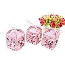 JZK 48 x Rosa cochecito cajitas regalos detalles con cintas para Invitados recuerdos boda comunion bautizo fiesta baby shower cumpleaños comunión ...