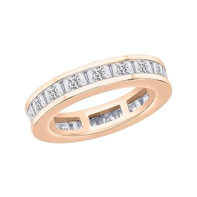 Amazon.com: Princess and Baguette Cut Diamond Eternity Wedding Band ...