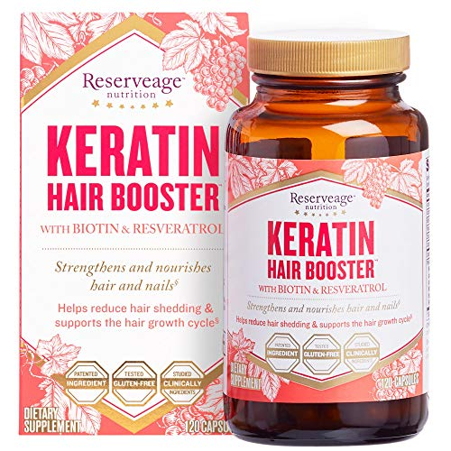 Reserveage, Keratin Hair Booster, Hair and Nails Supplement, Supports Healthy Thickness and Shine with Biotin, Gluten Free, 120 capsules (60 servings) (Reserveage Keratin Booster With Biotin & Resveratrol Reviews)