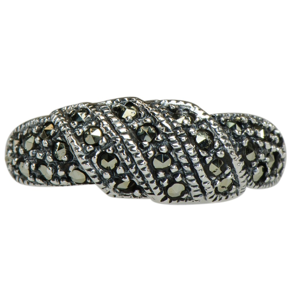 Caratera Fine Jewelry Vintage Marcasite Flowing Trinity Ring 925 Silver by Caratera Fine Jewelry (Image #1)