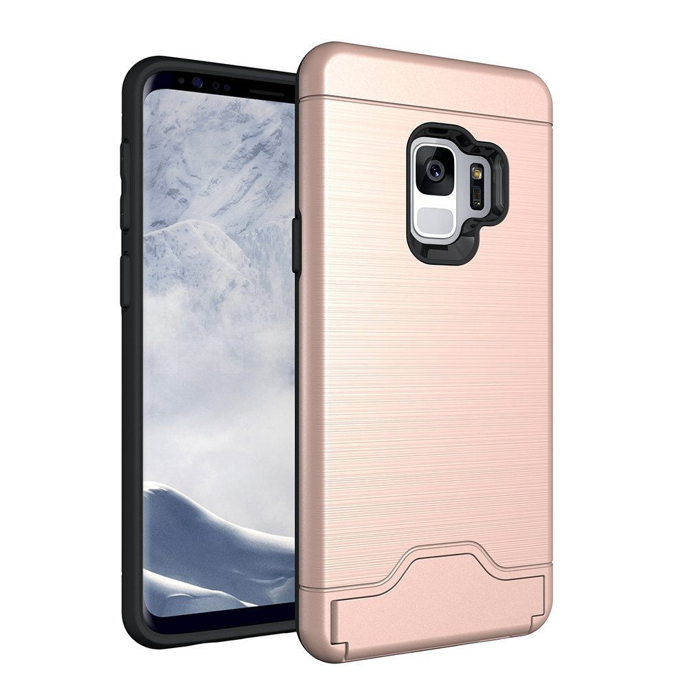 Galaxy S9 Case, CHIHENG Slim Brushed Armor Rugged Defender Back Shell Shock-Absorption [Card Slot] Dual Layer Protective Case Cover for Samsung Galaxy S9 Rose Gold CA-330820