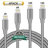 Youer Lightning Cable 4Pack 3FT 6FT 10FT 10FT Nylon Braided Certified iPhone Cable USB Cord Charging Charger for Apple iPhone 8, X, 7, 7 Plus, 6, 6s, 6+, 5, 5c, 5s, SE, iPad, iPod Nano, Touch (Grey)