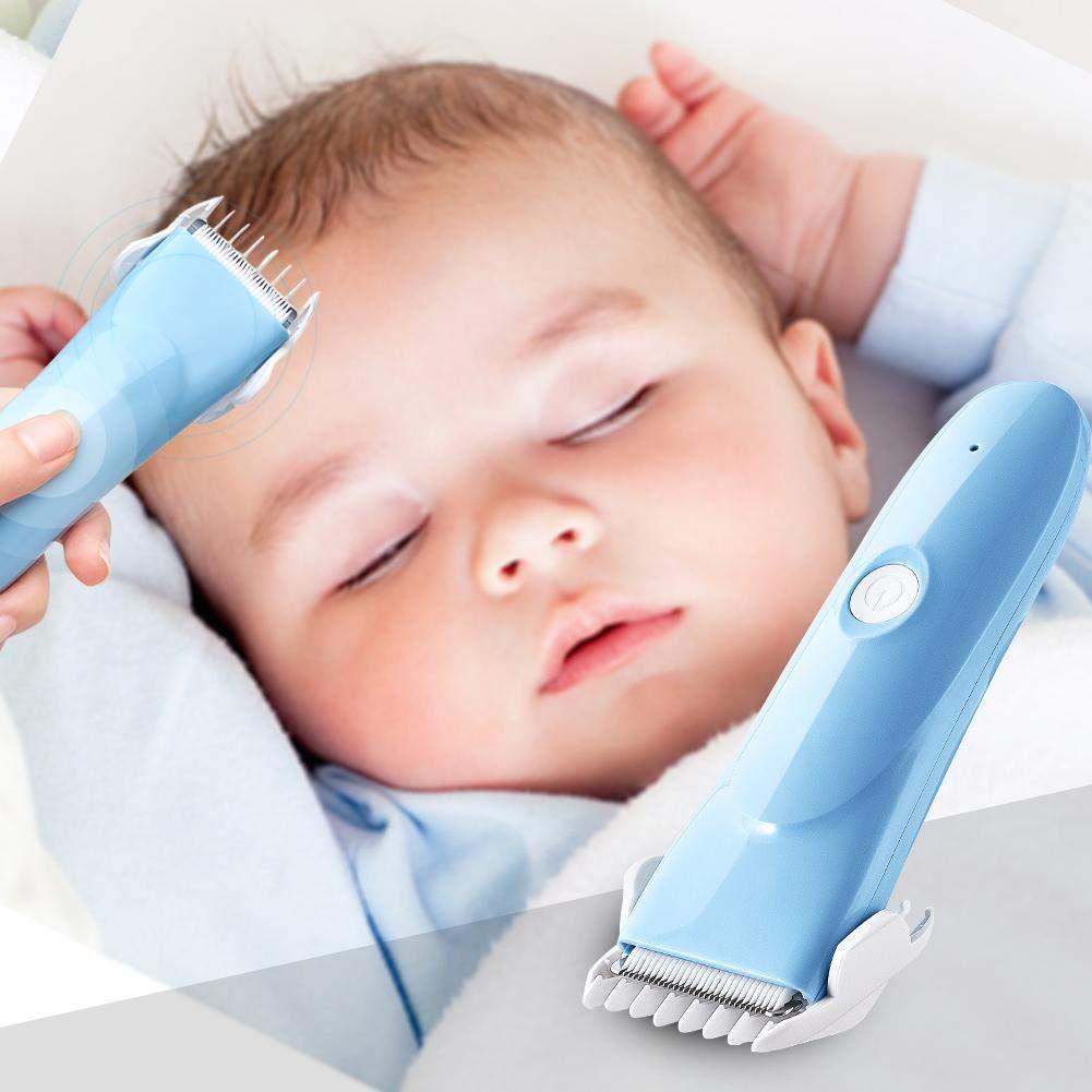 Baby Haarschneider Ruhig Schnurloser Haarscherer USB Wiederaufladbare Haartrimmer mit 2 Verstellbaren Haarkamm für Baby Kinder Leiyini