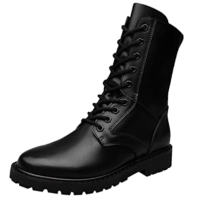 4a668fcc616 Jamron Men's Minimalistic Black Synthetic Leather Mid-Calf Boots Flat  Non-Slip Military Combat