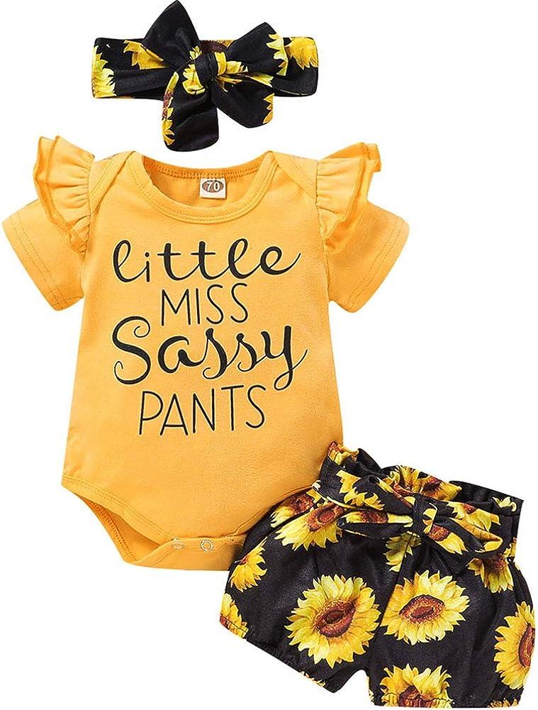 3PCS Baby Girls Short Sleeve Cotton Letters Bodysuit Top + Floral Shorts Headband Set Outfit