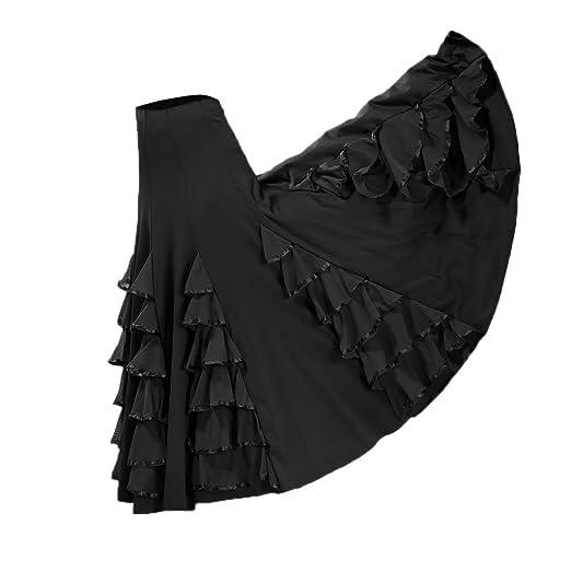 MagiDeal Jupe Flamenco Ballroom Danse Robe Jupe Longue Frille Western  Costume Femme - Noir f2fa3fc9e5d