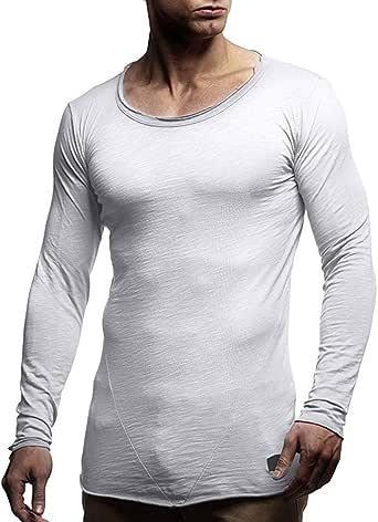 Kolylong hombre Camiseta blanca casual Jersey fino Camisa fondo ...