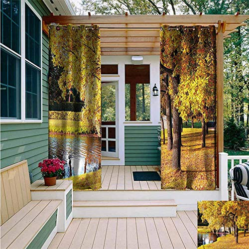 (Beihai1Sun Outdoor Curtain Panel for Patio,Nature Saint Petersburg in Autumn,Great for Living Rooms & Bedrooms,W84x96L)
