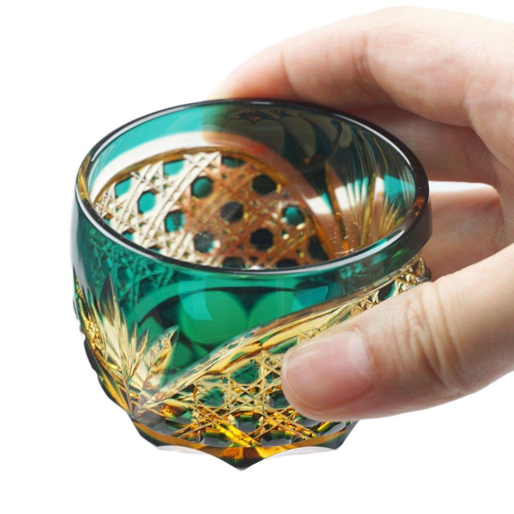 Crystal Sake Cup Edo Kiriko Guinomi Cut Glass Octagon Hakkaku-Kagome Pattern - Green x Amber [Japanese Crafts Sakura] by Japanese Crafts Sakura (Image #6)