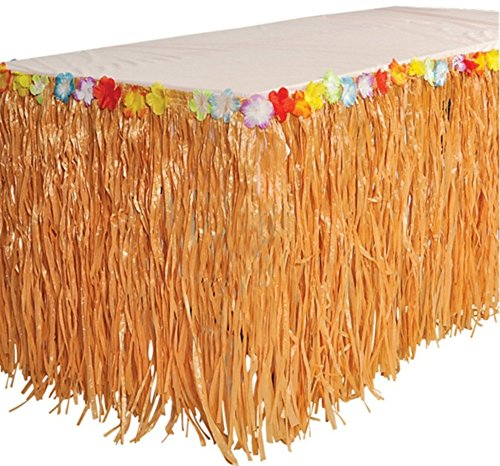 Luau Grass Table Skirt w/ Tropical Flowers (1 per package)