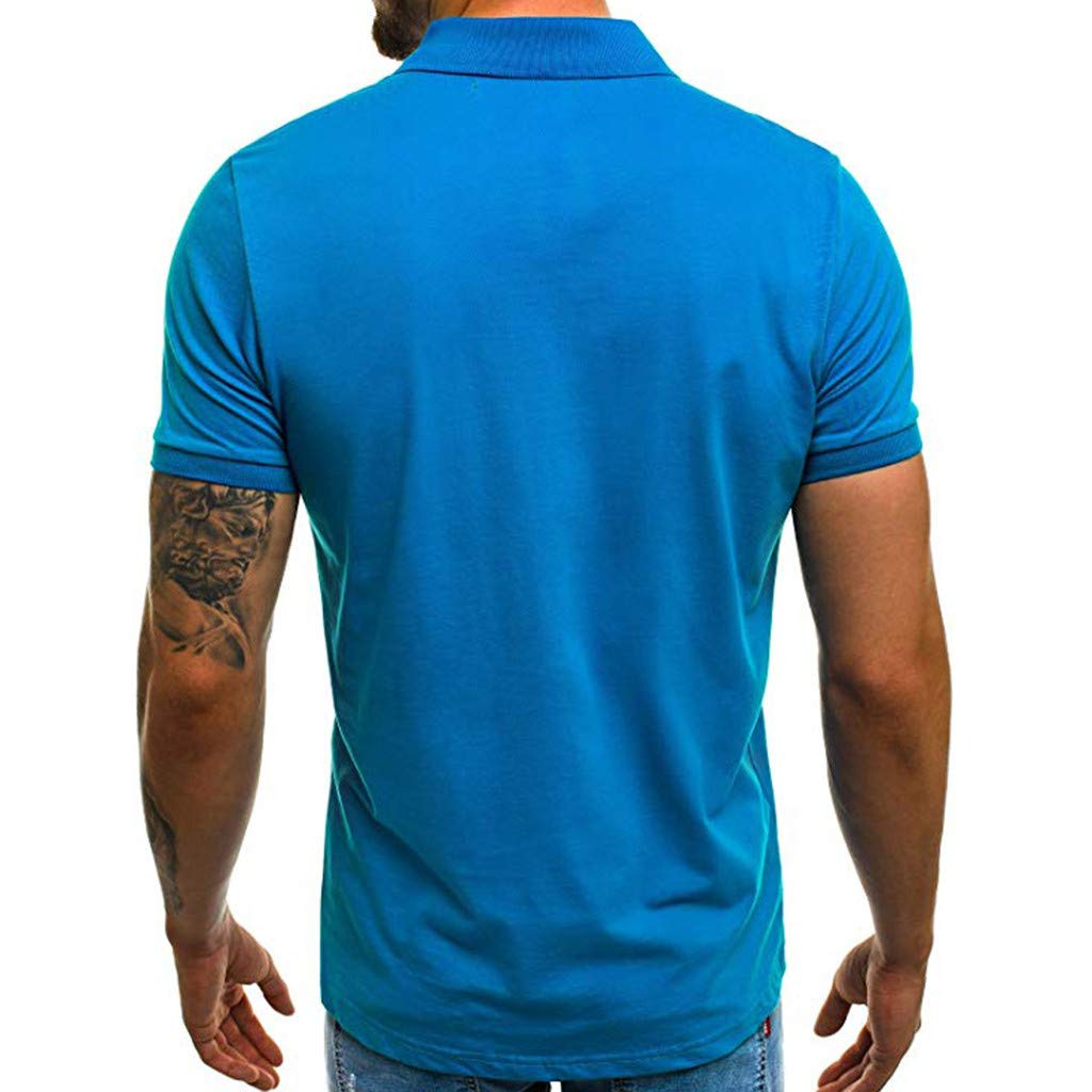 F/_Gotal Polo Shirt for Mens Mens Casual Short Sleeve V-Neck Polo Shirt Big and Tall Slim Fit Tees Blouse Tops