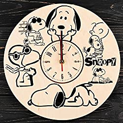 7ARTS Snoopy Wooden Clock – Decorative Wall Clock Made from Eco Wood with Silent Quartz Movement and Autonomous Power Source - Can be Painted, Great Gift Idea