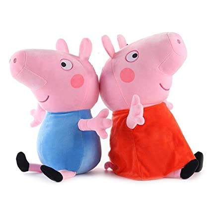 Tickles Peppa Daddy Pig Plush Soft Stuff Toy for Kids (Peppa Pig and George Pig, 16 cm)