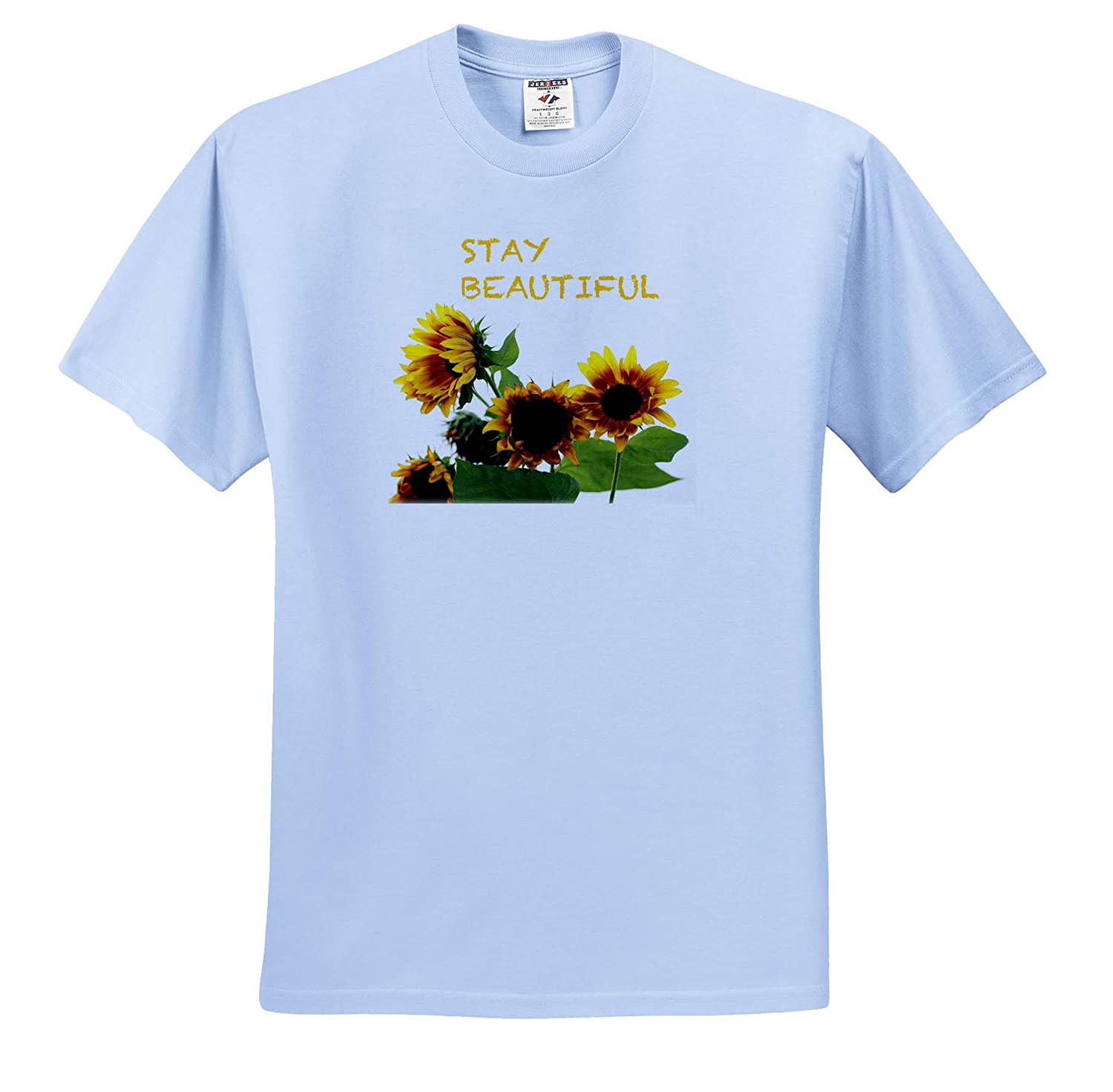 Typography Photograph of Sunflowers with Stay Beautiful 3dRose Stamp City ts/_320183 - Adult T-Shirt XL