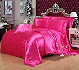 MOONLIGHT BEDDING Ultra Soft Luxurious Satin 3-Peice Duvet Set (1 Duvet Cover and 2 Pillowcases) Super Silky Vibrant colors like Hot Pink, Twin/Twin XL