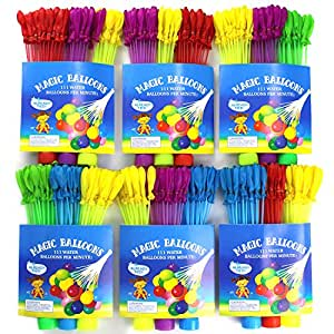Water Balloons Toys for Water Bombs Fighting Games 6 Sets Total 666 Pcs Self-tied Water Balloons Launcher for Kids by Mibote