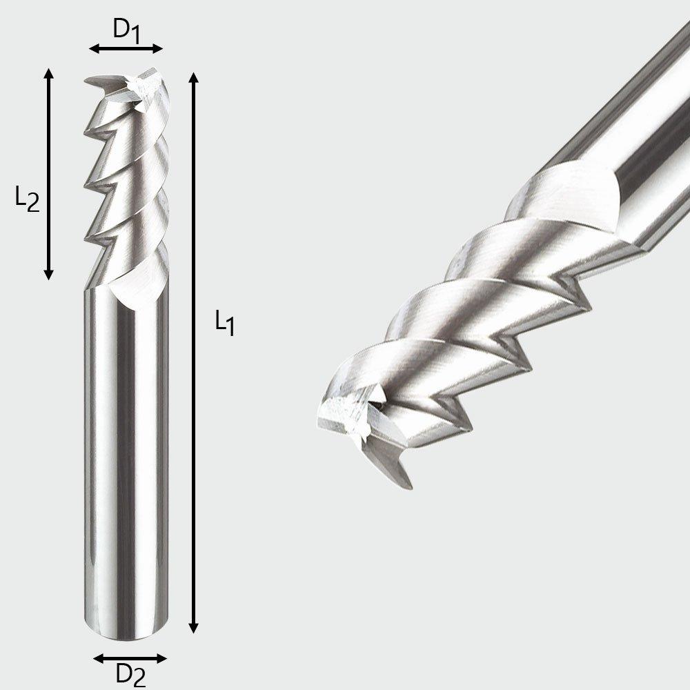 Ø 1 mm Alufräser Schaftfräser für Aluminium Z=3 VHM 55°
