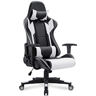 Homall Gaming Chair Racing Office Chair High Back Computer Desk Chair PU Leather Chair Executive and Ergonomic Adjustable Swivel Chair with Headrest and Lumbar Support (White)