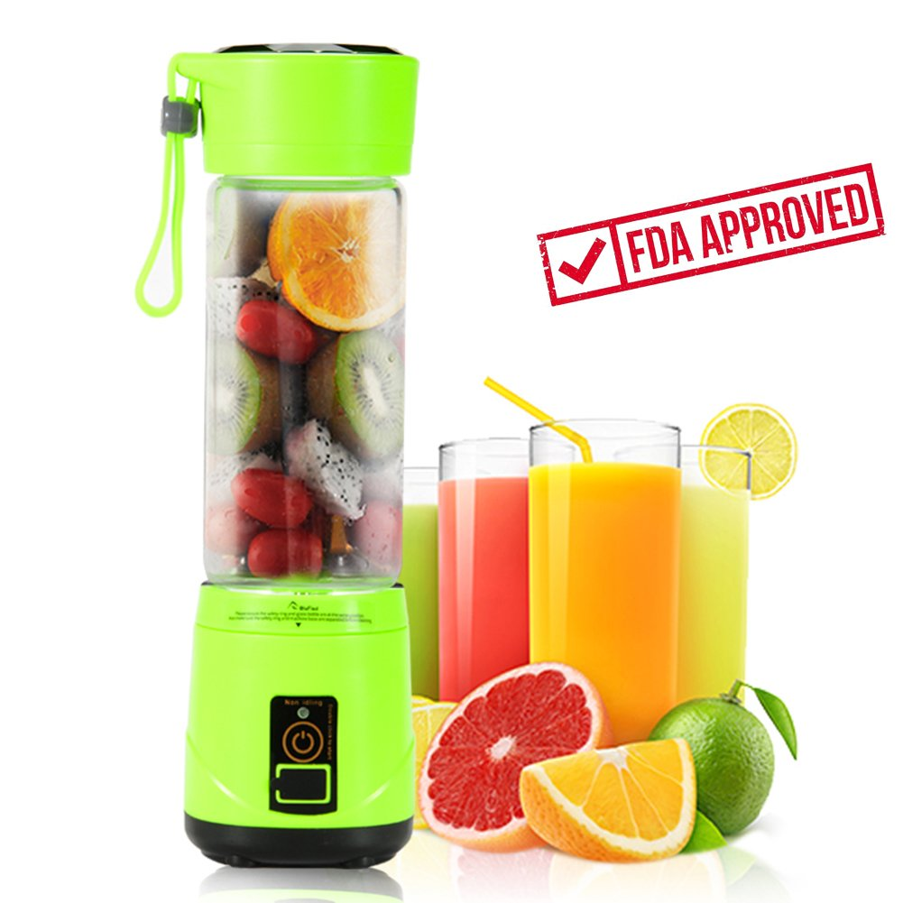 Portable USB Personal Blender with Travel Jar, Smoothie Maker and Juicer, Portable Single Serve for Shakes and Smoothies   High Speed, Powerful, 350ml, BPA-free, 4 Blades - Green   Upgrade Version