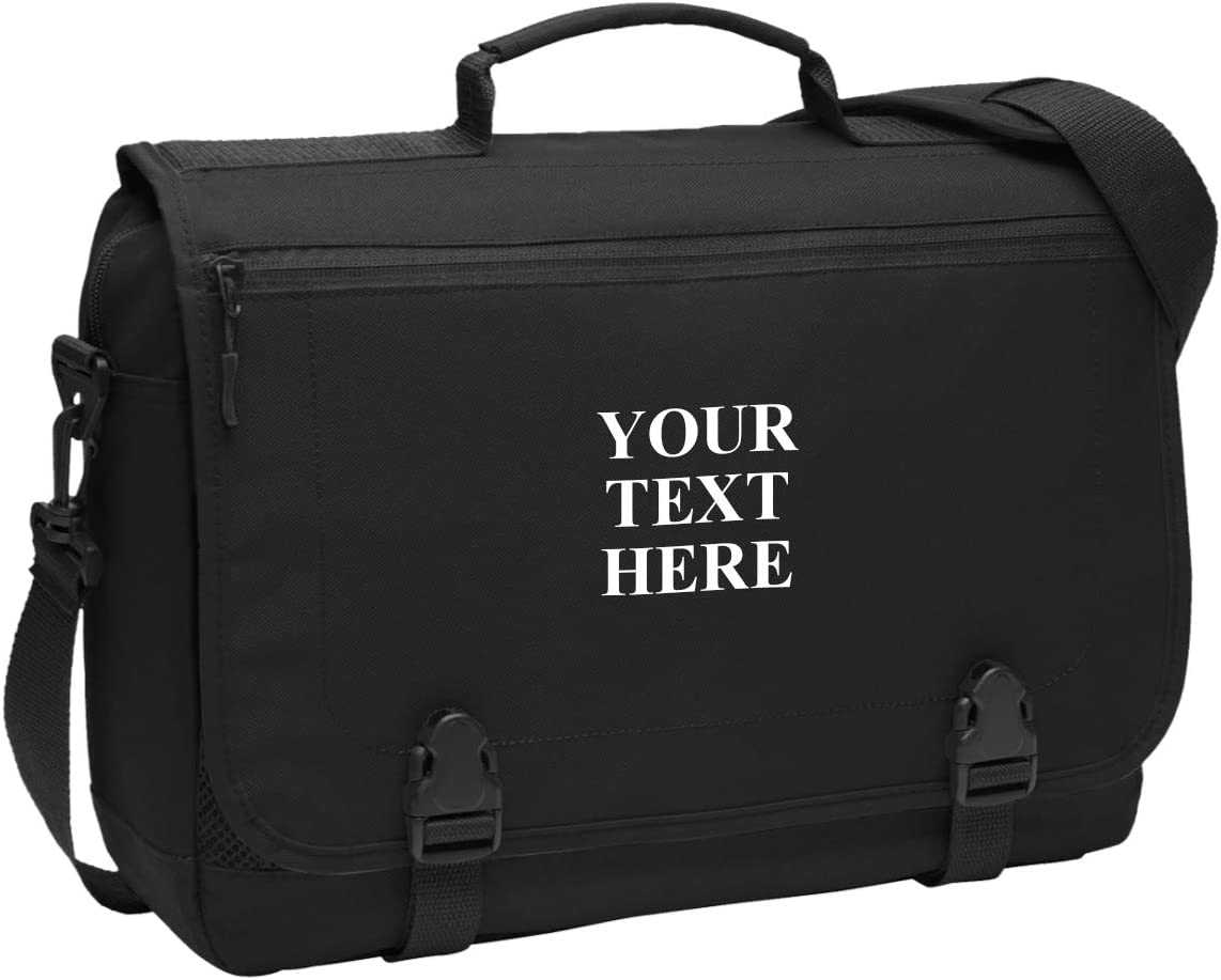 Personalized Messenger Briefcase Protective Laptop Bag Shoulder Bag Custom Add Your Embroidered Logo, Text (Black)