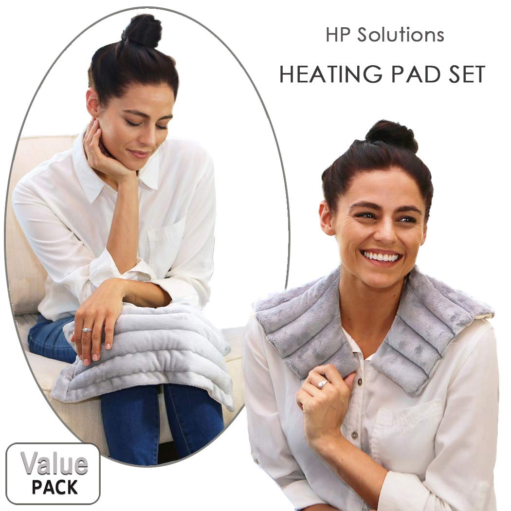 Heating Pad Solutions Holiday Gift Set of Shoulder and Neck Heating Pad with an All Purpose Microwavable Heat Pad for Pain Relief and Relaxation - American Made Aromatherapy Packs (Lavender Scented)