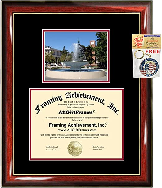 Gold Accent Gloss Mahogany 16 x 16 Signature Announcements Indiana-State-University Doctorate Sculpted Foil Seal Graduation Diploma Frame