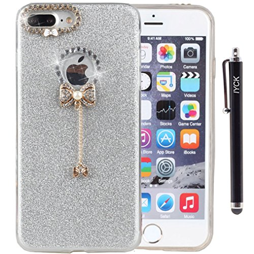 iPhone 8 Plus Case, iPhone 7 Plus Case, iYCK 3D Handmade Diamond Rhinestone Glitter Bling TPU Soft Rubber Case Cover with Sparkly Bow Knot Crystal Pendent Charms for iPhone 7/8 Plus 5.5inch - Silver -