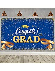 Graduation Party Backdrop Banner Decoration Congrats Grad Sign Banner 2021 Congratulate Graduation Prom Photography Fabric Background for Graduation Party Supplies 72.8 x 43.3 Inch (Blue)