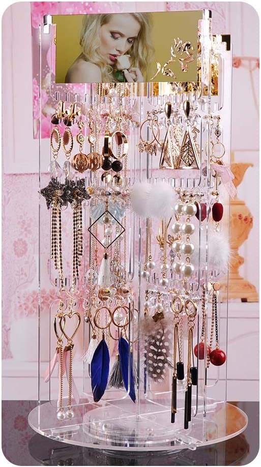 DeisgnSter 360°Rotating Earring Organizer - Premium Acrylic Large 368 Hanger 4 Tier Earring Holder Necklace Bracelet Jewelry Display Rack Stand Tower with 2 Mirror (Clear)