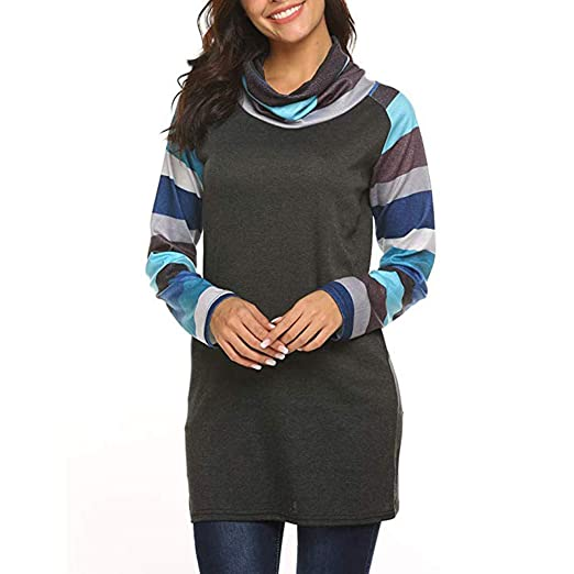 8ebb6918099 Women High Neck Striped Patchwork Long Sleeve Tunic T-Shirt Tops ...