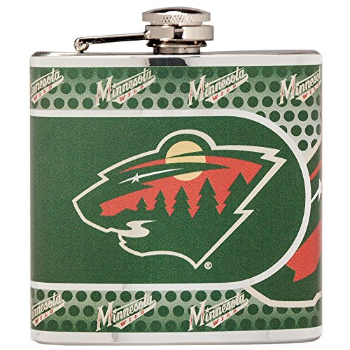 Great American Products NHL Minnesota Wild Stainless Steel Hip Flask with Metallic Graphics, 6 oz, Silver -