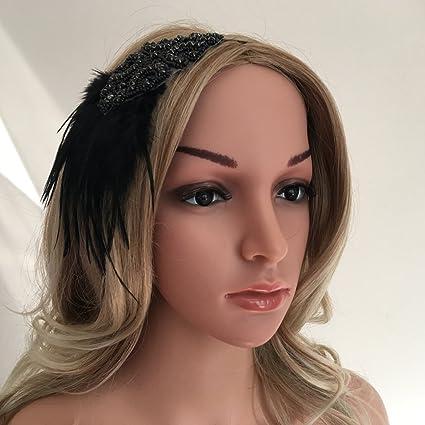 bon ajustement style exquis les ventes en gros SM SunniMix Bandeau de Cheveux à Plume Femme Bandeau Plume Année 20 Gatsby  Couronne Plume Accessoires de Coiffure