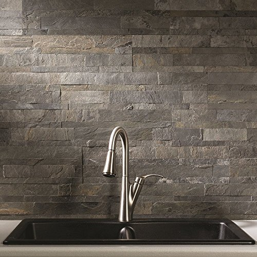 Aspect Peel and Stick Stone Overlay Kitchen Backsplash - Iron Slate (5.9
