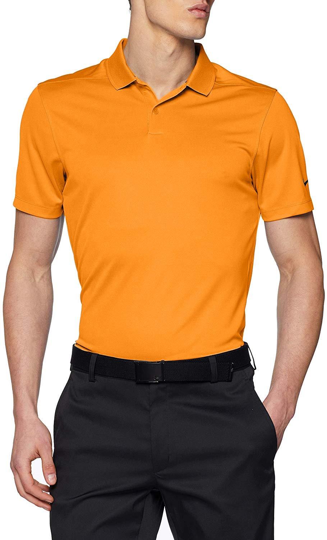 NIKE Mens Dry Victory Solid Golf Polo (Bright Ceramic/Black ...