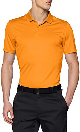 NIKE Mens Dry Victory Solid Golf Polo (Bright Ceramic/Black ...