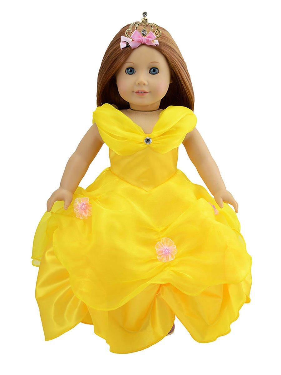 Dreamtoyhouse American Girl Doll Clothes Princess Belle Royal Ball Gown Party Dress & Golden Crown for 18 Inch Dolls