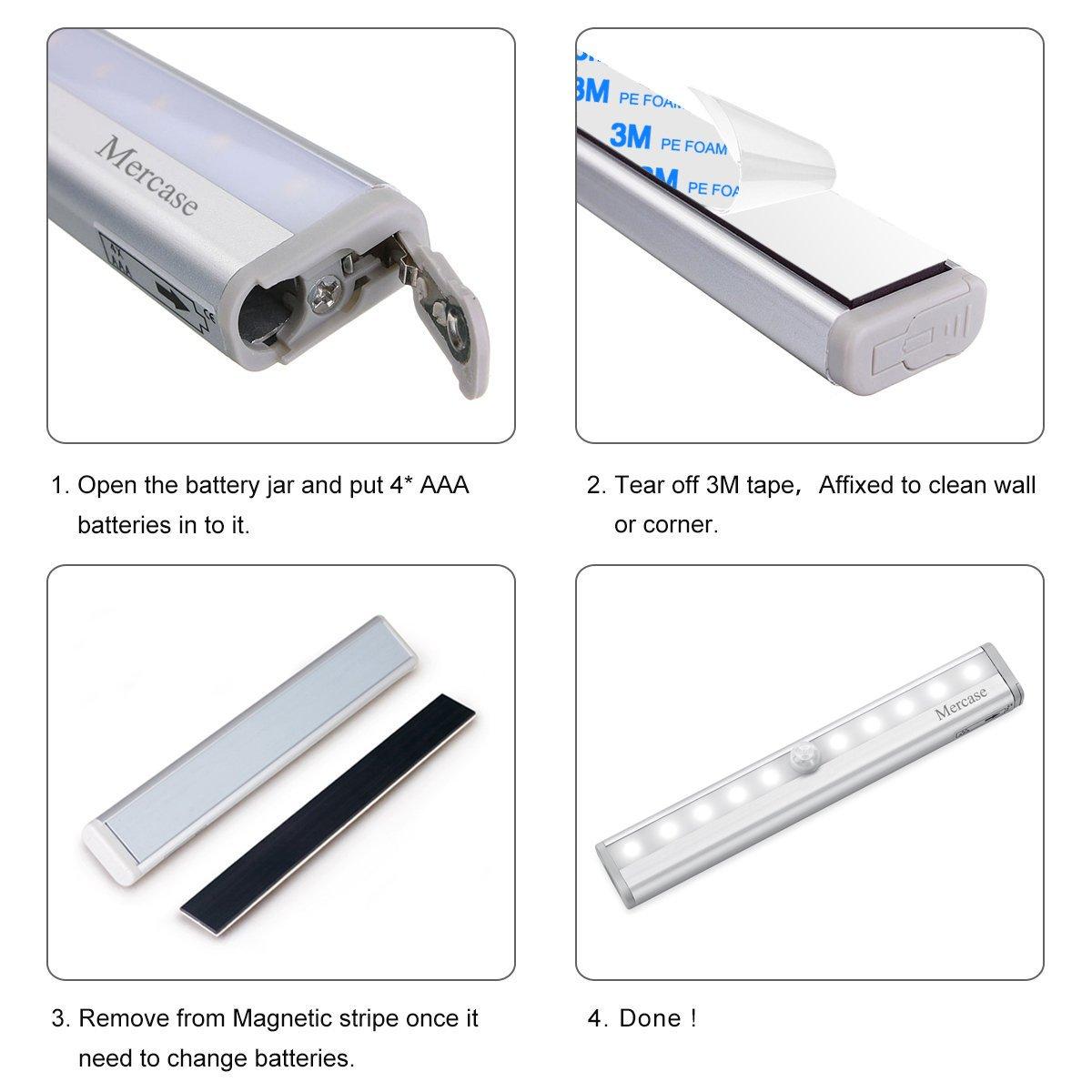 luce per Armadio con Sensore,Lampada Armadio con Sensore Luce e di Movimento Alimentata a Batterie Luce Notte per Armadio,Comodino,Corridoio(Confezione da 2)