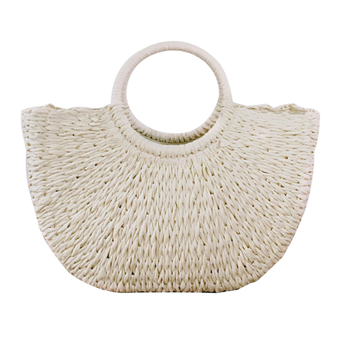Hand-woven Straw Large Hobo Bag for Women Round Handle Ring Toto Retro Summer Beach (Off white)