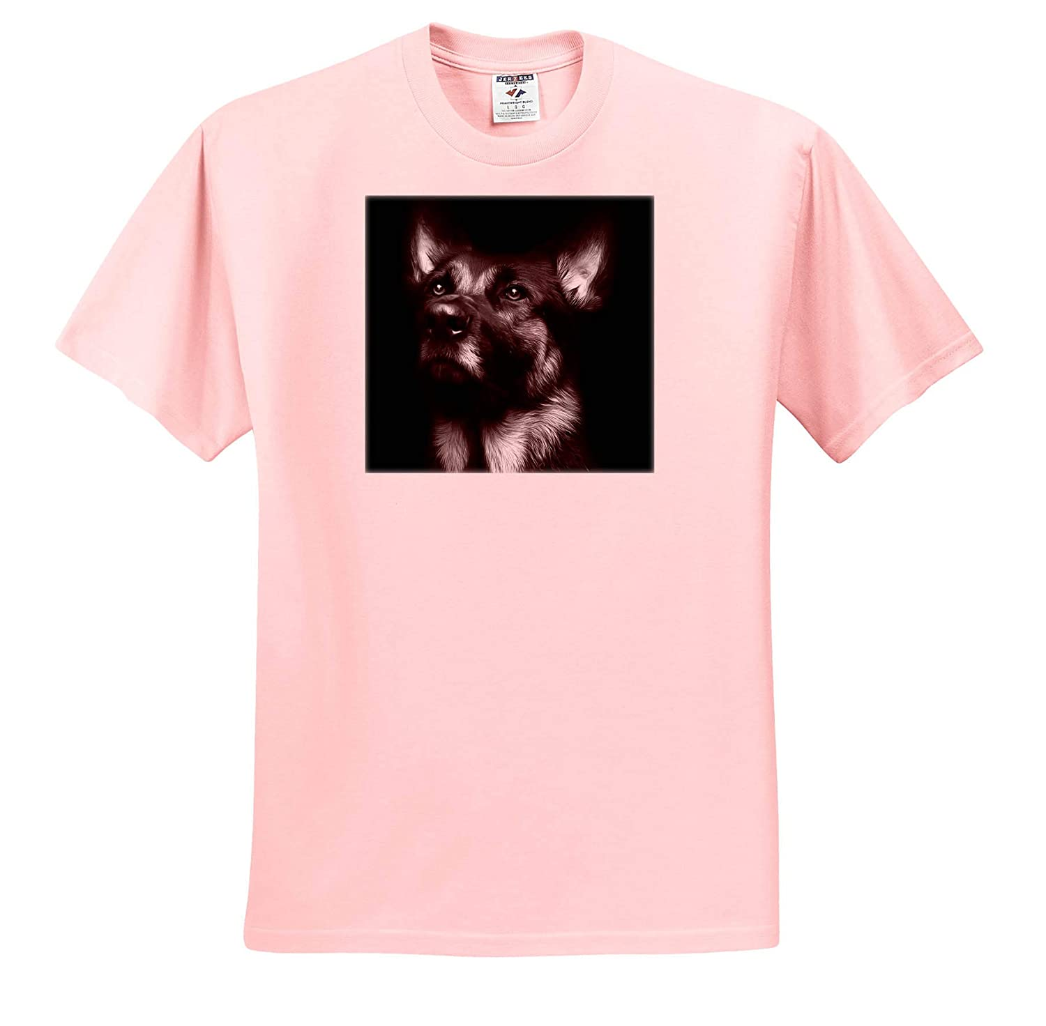 3dRose Stamp City Animals - T-Shirts Black and White Photo of a Regal German Shepherd Painted in Photoshop