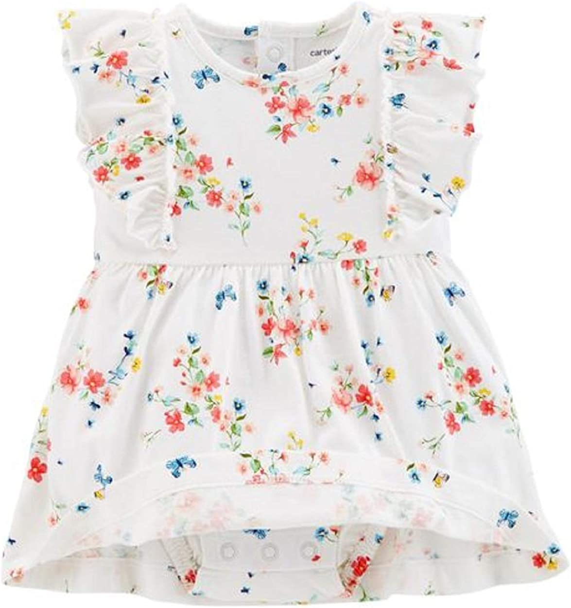 6M Carters Baby Girls Bodysuit Babydoll Waist Dress Flutter Sleeves Plus Matching Cardigan