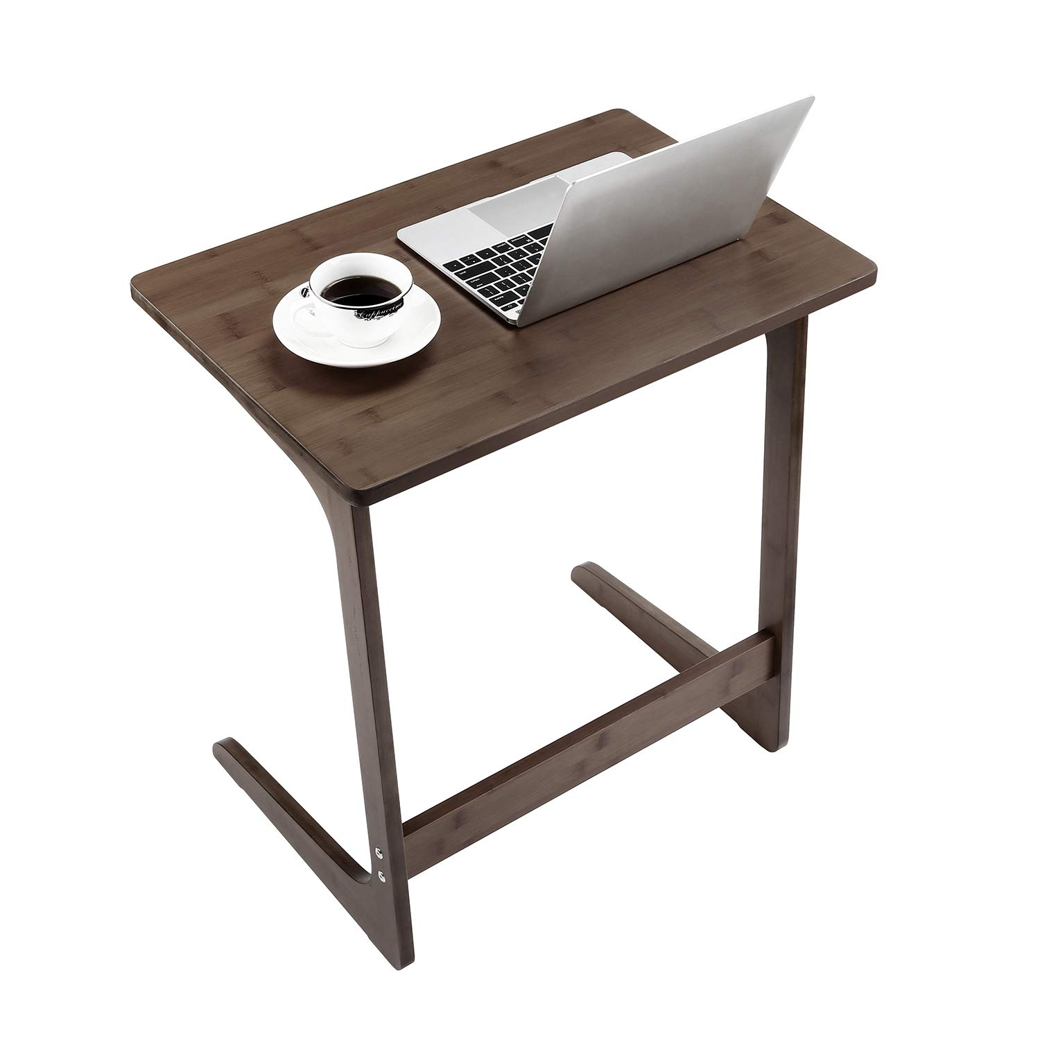Sofa Table TV Tray, NNEWVANTE Couch Sofa End Table Laptop Desk Bamboo Coffee Table Side Table Snack Tray for Eating Writing Reading Living Room Modern Furniture Home Decor Office Easy Assemble-Walnut