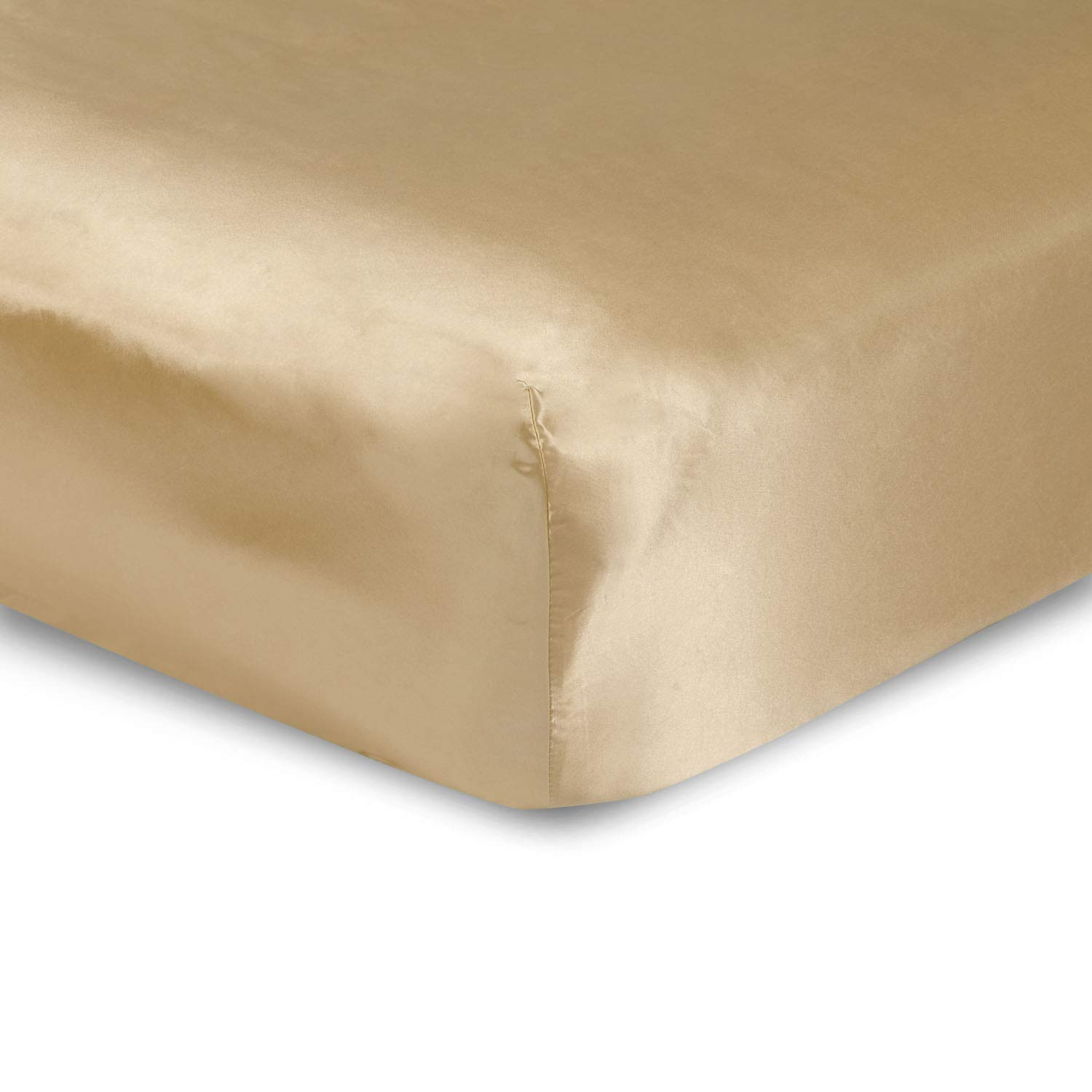 sweet dream Luxury Queen Size Satin Fitted Sheet - Gold