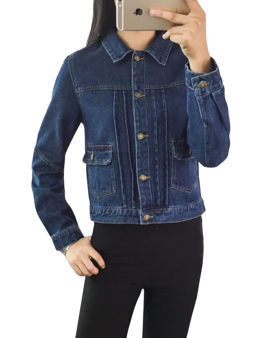 Tanming Women's Lapel Buttons up Outerwear Short Denim Jackets (Blue, Medium) by Tanming