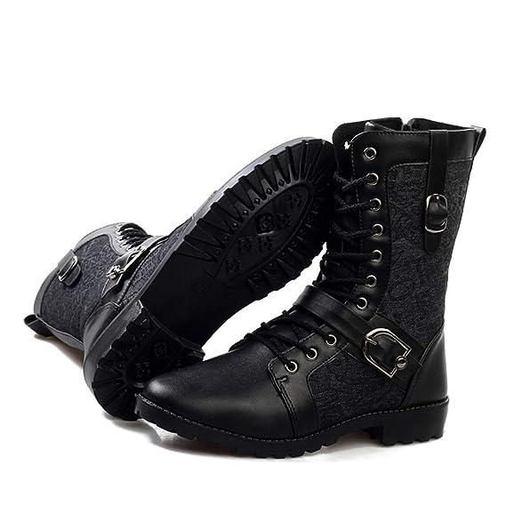 HILOTU Botas de Media Pierna de Los Hombres Botas de Lona con Forro Interior de Faux Fleece Correa Hebilla Zapatos de Cremallera Lateral (Color : Negro, ...