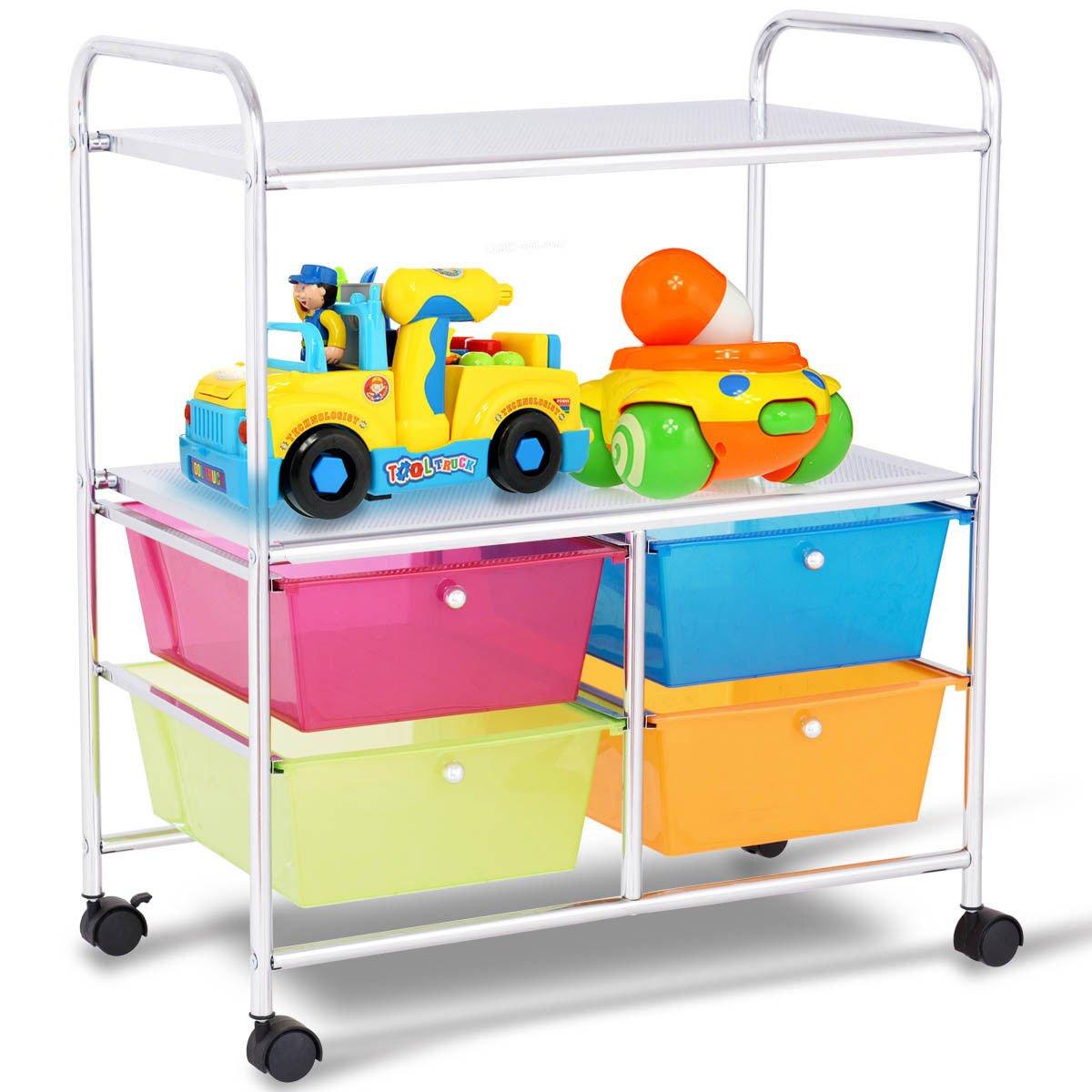 Giantex Rolling Storage Cart w/ 4 Drawers 2 Shelves Metal Rack Shelf Home Office School Beauty Salon Utility Organizer Cart with Wheels (Blue Green Orange & Red) by Giantex (Image #3)